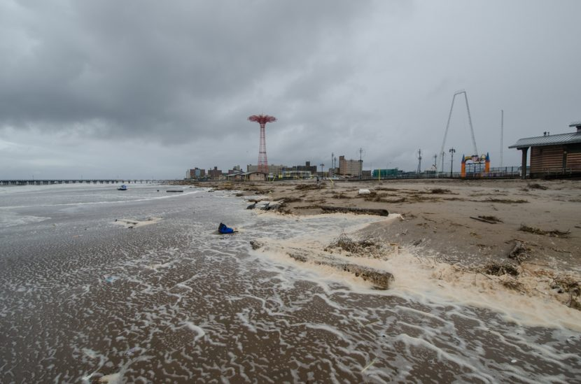 Debris washed ashore at Coney Island by hurricane Sandy